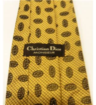 Christian Dior Monsieur Gold Oval Shape Pattern Silk Tie
