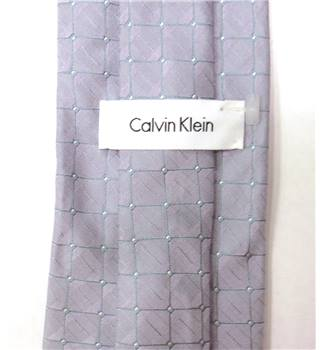 Calvin Klein Lilac Checked Pattern Silk Tie