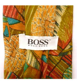 Hugo Boss Multi-coloured Abstract Paint Pattern Silk Tie