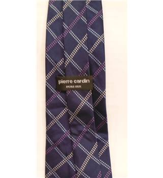 Pierre Cardin Navy Blue Diamond Patterned Silk Tie