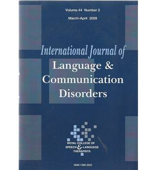 International Journal of Language & Communication Difficulties Vol 44 No.2