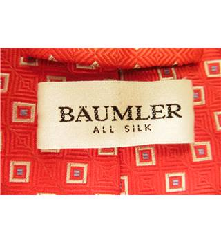 Baumler Red Square Pattern Luxury Silk Tie