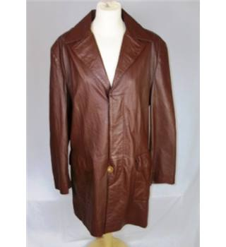 Pittards Size L Brown Leather Coat