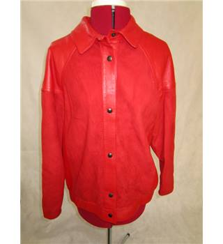 Unbranded - Size: 14 - Red - Lamb Suede - Leather Red 1980's Jacket Blouse style