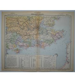 Letts's Map 1881  - Watershed Map of England & Wales (South East from Hants to Oxford to Essex to Kent)
