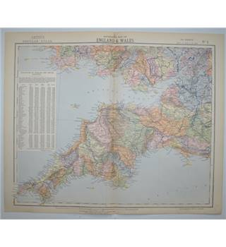Letts's Map 1881  - Watershed Map of England & Wales (Southern Wales, Cornwall, Devon Somerset, Dorset)