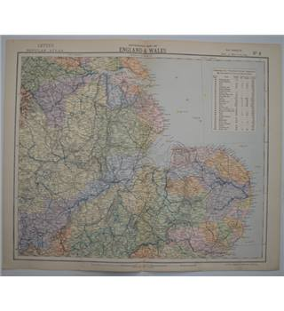 Letts's Map 1881  - Watershed Map of England & Wales (Humberside, East Midlands, East Anglia)