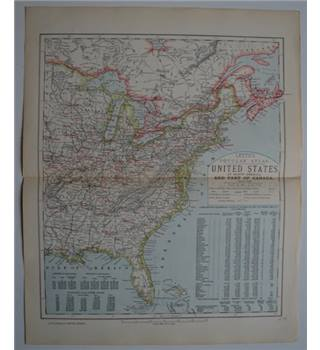 Letts's Map 1881  - United States of North America and Part of Canada - Eastern Sheet