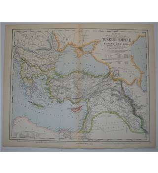 Letts's Map 1881  - Turkish Empire in Europe and Asia; Greece, Bulgaria, etc.