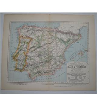 Letts's Map 1881  - Railway & Statistical Map of Spain