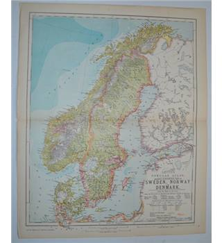Letts's Map 1881  - Sweden, Norway & Denmark