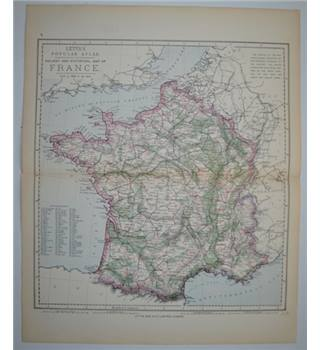 Letts's Map 1881  - Railway & Statistical Map of France