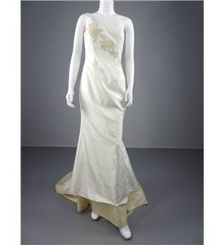Lovely Diana Grey Ivory Wedding Dress Size 12  With Detailed Champagne Embroidery