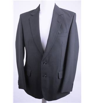 "Aquascutum Size: Medium, 40"" chest, tailored fit Dark Navy Blue & Medium Pinstripe Stylish Wool Designer Single Breasted Jacket"