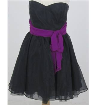 Lipsy Size 14 black Strapless dress with purple waistband