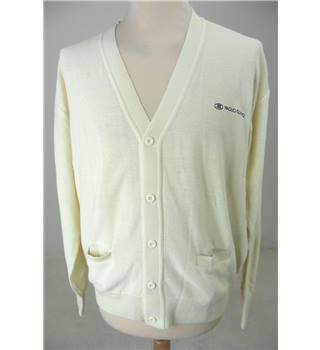 "Paolo Gucci Size: Medium, 40"" Chest Eggshell Yellow  Casual/Stylish Cotton Blend V Neck Long Sleeve Cardigan"