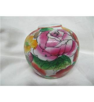 Hand-Painted  Round Vase Floral Multi-Coloured