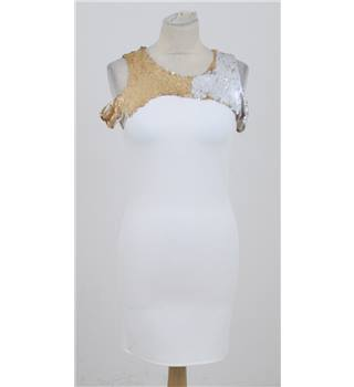 BNWT John Zack size 10 cream/ivory sequined cocktail dress