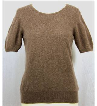 Autograph Size 12 Taupe Cashmere Short Sleeved Jumper