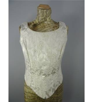 Beautiful Ivory Basque Waist Bodice Size 12 With Rose Embroidery