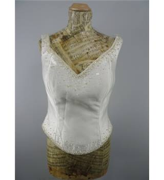 Lovely Ivory Bodice Size 12  With 3D Bead Work