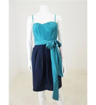 Coast Size 8 Navy and Teal Silk Cocktail Dress