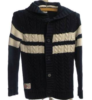 Crew Clothing - Size: 8-9 - Navy - Cotton - Boys Hooded Cardigan.