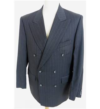 "Liberty Size: Medium, 40"" chest, reg fit Grey With Silver Pinstripe Stylish Pure New Wool Designer Double Breasted Jacket."