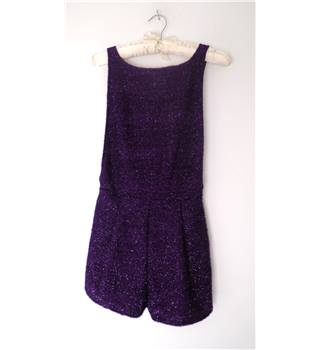 BNWT Motel Size S Purple Tinsel Embellished Backless Top