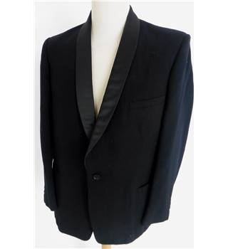 "Burton Size: Medium, 40"" chest, tailored fit Black Smart Wool Single Breasted Velvet Shawl Collar Tuxedo Dinner Jacket"