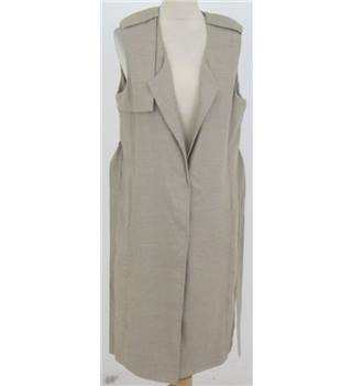NWOT: M&S Size 12: natural linen sleeveless coat