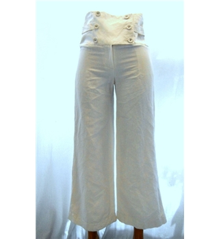 Sticky Fingers Size 8 White Flare Linen Trousers