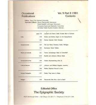 The Epigraphic Society Volume 9 Part 2