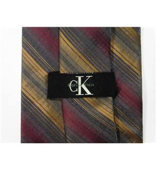 Calvin Klein Multi-Coloured Silk Tie with a Burgundy and Gold Multi Stripe