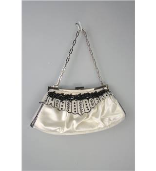 Karen Millen Cream Black Beaded Clutch Bag