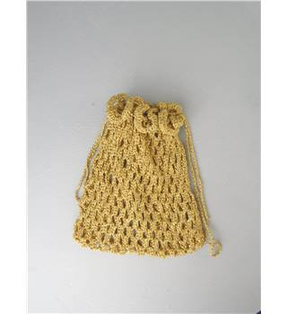 Gold Crochet Draw String Bag