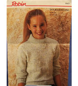 Vintage Robin 13621 Girl's Double knit Sweater Knitting Pattern