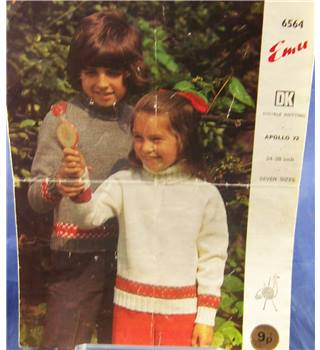 Vintage Boys Slash Neck Sweater Knitting Pattern