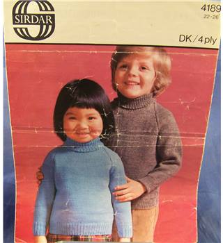 Vintage Sirdar 4189 Child's Roll Neck Sweater Knitting Pattern