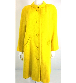 The Touchy-Feely Collection: Vintage 1980's Aquascutum Size 18 Light Lemon Yellow Woven Wool Long Coat