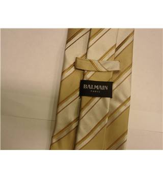 Balmain White, Bronze And Gold Diagonal Striped Silk Tie