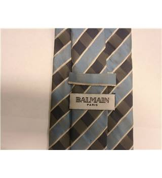 Balmain Navy Blue & Sky Blue Diagonal Striped Silk Tie