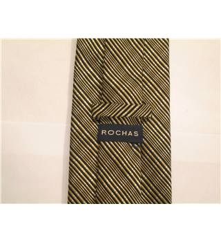Rochas Gold with Brown Diagonal Striped Silk Tie