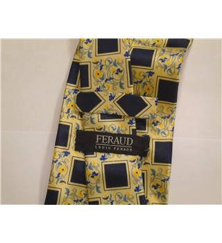 Vintage Louis Feraud Honeydew Yellow with Navy Squares and Floral Pattern Silk Tie