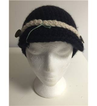 Top Shop Black Knitted Wool Mix Peaked Cap Hat