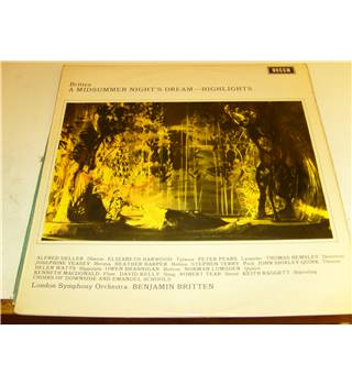 Britten A Midsummer Nights Dream Highlights Decca Stereo LP SET 397 LSO Britten Deller Pears Harper Shirley-Quirk etc