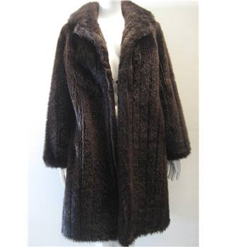 Furnyl Size 14 Vintage Original 1960s Brown Faux Fur Coat Don't make live till after 15th Nov (coat sale!