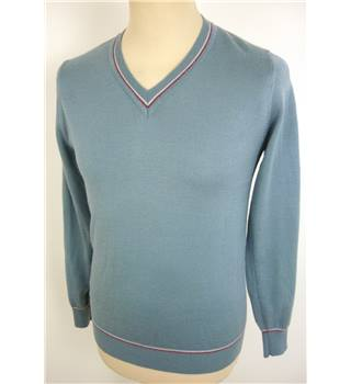 "Pop  Size: Small, 36"" chest  Sky Blue Grey Casual/Stylish Wool Blend V Neck Long Sleeve Jumper"