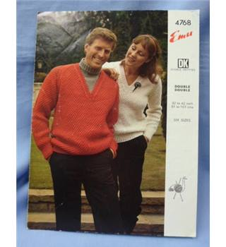 Vintage Knitting Emu 4768   V Neck Sweater His and Hers in DK