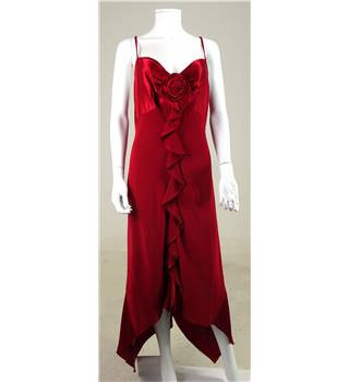 Pearce Fionda Size 14 Ruby Red Rose Detail Bridesmaids Dress